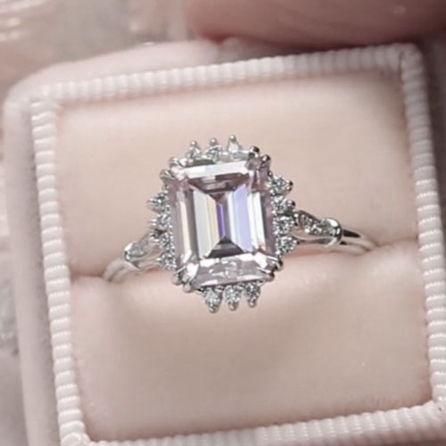 Barely Pink Emerald Cut